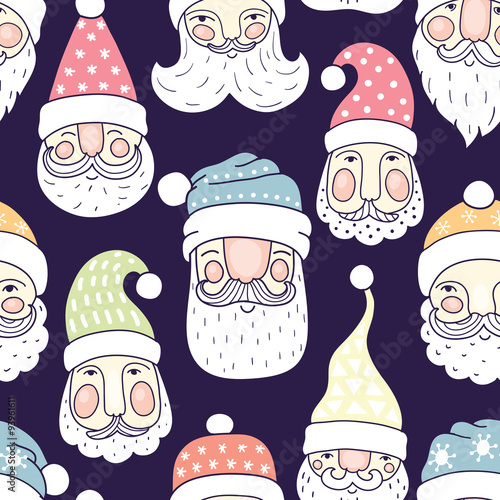 Cotton fabric Santa seamless pattern