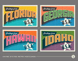 United States vintage typography postcards featuring Florida, Georgia, Hawaii, Idaho