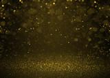 Fototapety Highlighted bokeh gold sparkle glitter background