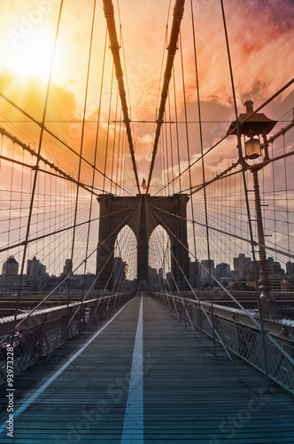 Brooklyn bridge, New York, USA - 93973228