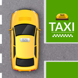 Fototapety Yellow taxi cab top view banner