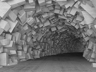 Turning concrete tunnel interior, 3d render