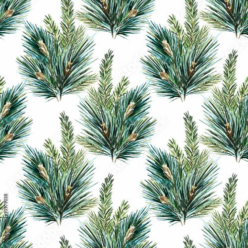 Vector watercolor christmas tree pattern - 93979038