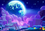 Fototapety Illustration: The Other planet's Environment. Realistic Cartoon Style. Sci-Fi Scene / Wallpaper / Background Design.