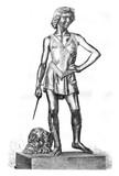 David winner of Goliath bronze statue of Andrea Verrocchio, the poster