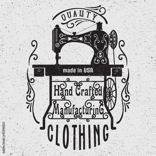 Hand drawn typography poster with vintage sewing machine. - 93996835
