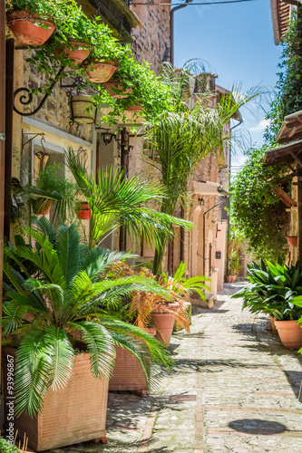 Wonderful decorated street in small town in Italy, Umbria