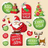 Set of Christmas price tags