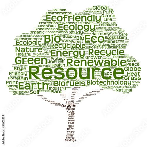 Plakat Conceptual green ecology tree word cloud