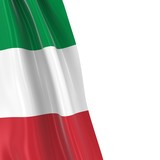 Hanging Flag of Italy - 3D Render of the Italian Flag Draped over white background with copyspace for text