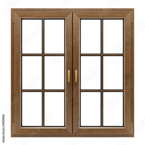 brown wooden window isolated on white background - 94018416