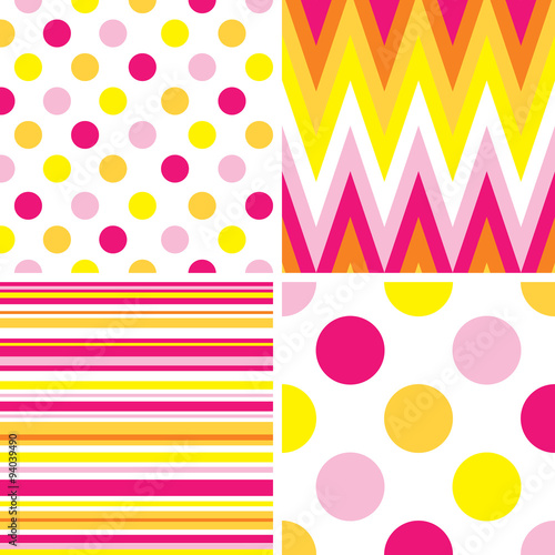 Seamless stripes, chevron, and polka dots background. EPS 10 & HI-RES JPG Included © mrartngm