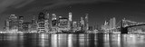 Fototapety Black and white New York City at night panoramic picture, USA.