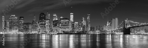 Wall mural Black and white New York City at night panoramic picture, USA.
