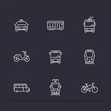 Fototapety City transport, tram, train, bus, bike, taxi, trolleybus, linear icons, vector illustration
