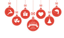 Hanging baubles with Christmas symbols