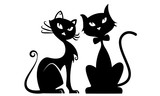 Fototapety Black cats silhouette