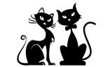 Fototapety Black cats silhouette