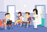 The best medical health care. Modern interior of a private medical practice Health Center. Vaccination. Waiting room at the doctor with the patient and nurse. Simple cartoon vector illustration.