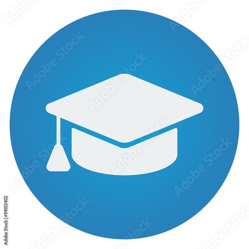 """""""Flat white Graduation Cap icon on blue circle"""" Stok ..."""