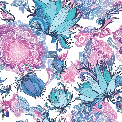 Cotton fabric Elegant Romantic Vector Floral Pattern