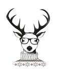 Hipster Hirsch mit Nerd Brille und Pullover
