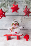 Christmas still life decoration with wooden background