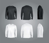 Long sleeved t-shirt templates collection, front, back, side view. Black and white colors blank shirts, vector eps10 realistic illustration. - 94136030
