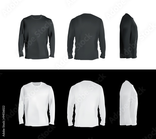 Long Sleeved T Shirt Templates Collection Front Back Side View Black