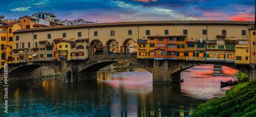 Fototapeta Beautiful sunset view of bridge Ponte Vecchio, Florence, Italy