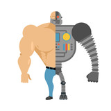 Cyborg. Half human half robot. Man with big muscles and iron lim