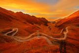 Mountain Road in Autumn Sunset Colors