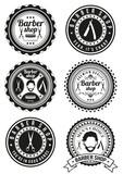 Set of beautiful round vintage barber shop badges