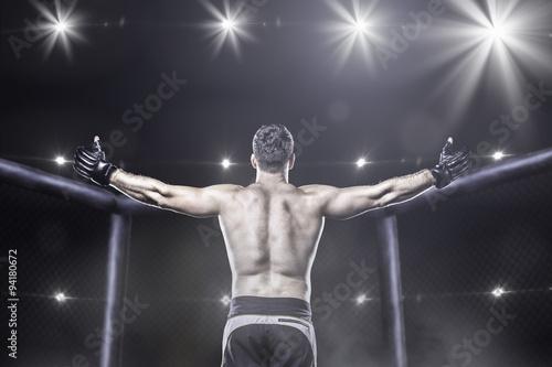 fototapeta na ścianę mma fighter in arena celebrating win, behind view