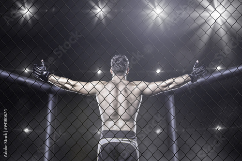 fototapeta na ścianę mma fighter in arena celebrating win, behind view