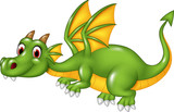 Cute green dragon flying. isolated on white background