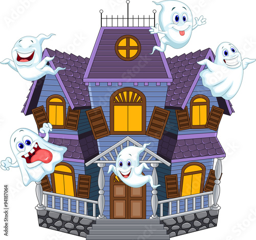 Cartoon scary halloween house with funny ghosts stock - Cartoon haunted house pics ...