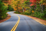 Fototapety Winding road through autumn trees in New England