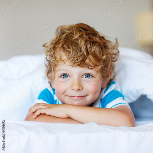 Gamesageddon Adorable Kid Boy After Sleeping In His White Bed