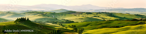 Beautiful and miraculous colors of green spring panorama landsca - 94199826