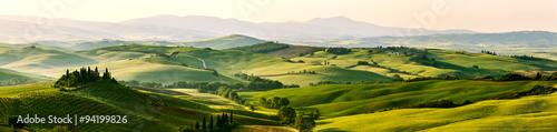 fototapeta na ścianę Beautiful and miraculous colors of green spring panorama landsca