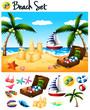 Beach objects and ocean scene