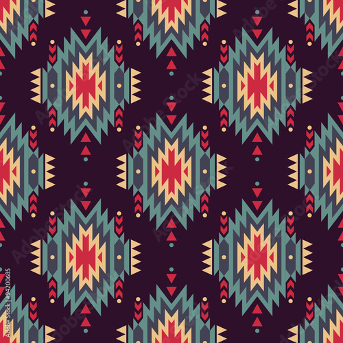 Materiał do szycia Vector seamless decorative ethnic pattern. American indian motifs. Background with aztec tribal ornament.