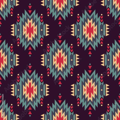 Materiał do szycia Wektor bezszwowe ozdobny wzór etniczne. American indian motywy. Tło z ornamentem plemienne Azteków.