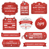 Collection of Red Christmas Labels - 94203294