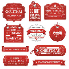 Collection of Red Christmas Labels