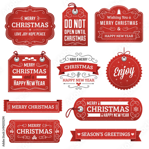 Fototapeta Collection of Red Christmas Labels