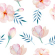 Seamless wallpaper with stylized flowers, watercolor illustratio - 94207417