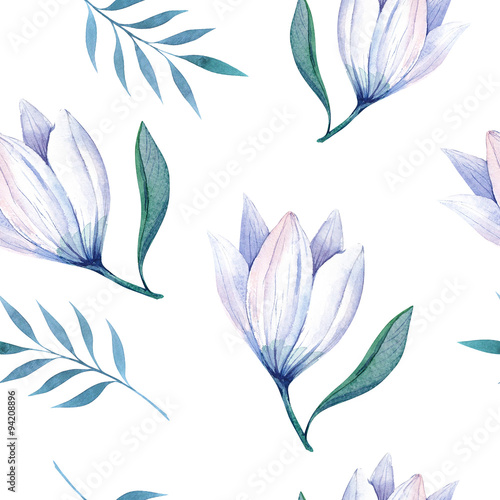 Seamless wallpaper with stylized flowers, watercolor illustratio - 94208896