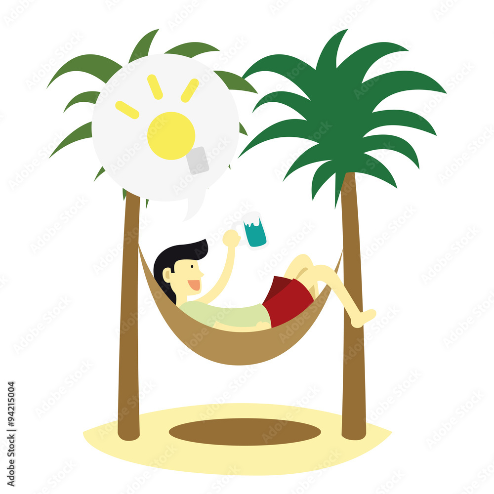 Man holiday tropic beach sleep under the palm tree wall sticker man holiday tropic beach sleep under the palm tree wall sticker amipublicfo Image collections